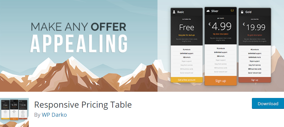 responsive pricing table wordpress pricing table plugins