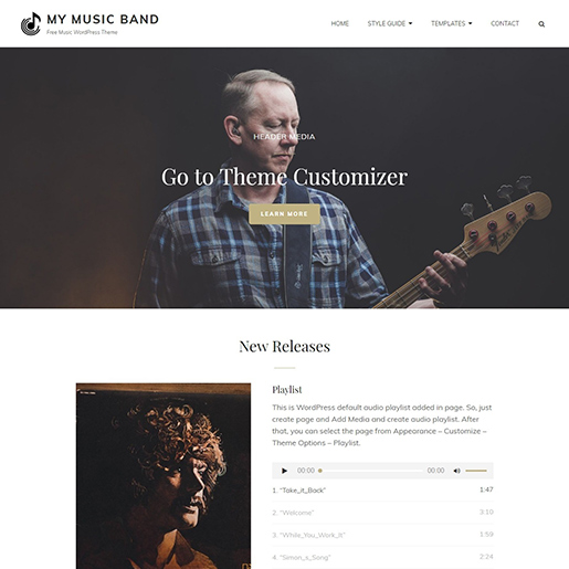 WordPress themes for artists - my music band