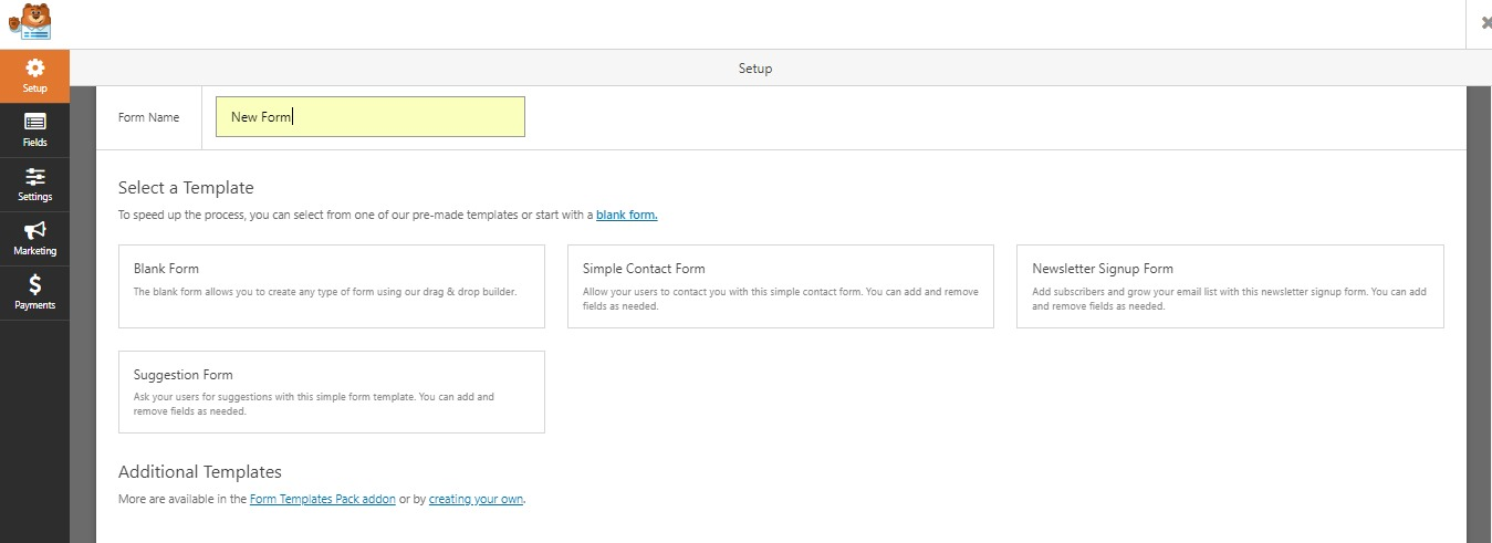 WPForms Builder wordpress file upload plugin step 2