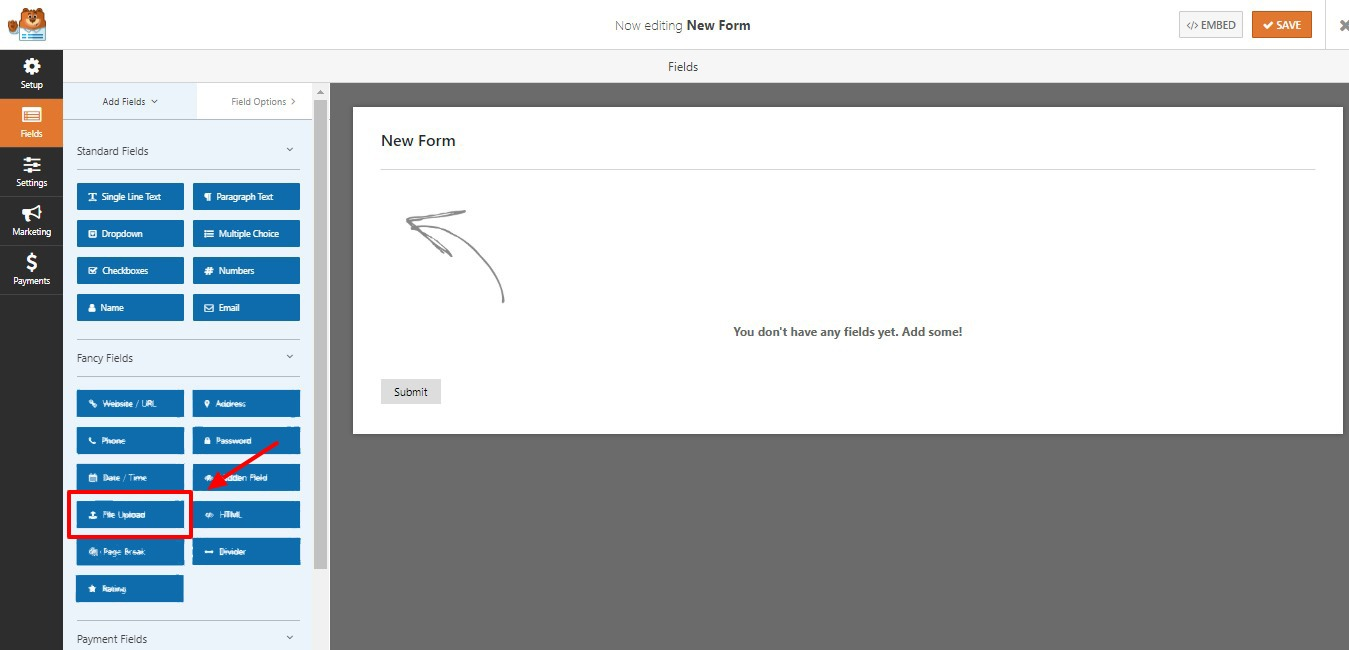 WPForms Builder wordpress file upload plugin step 3
