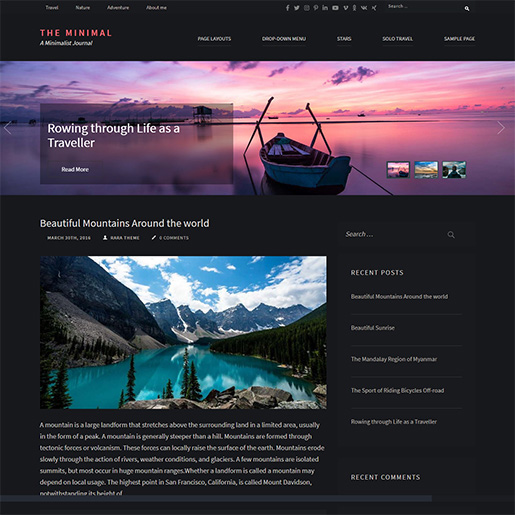 WordPress Travel theme-minimal