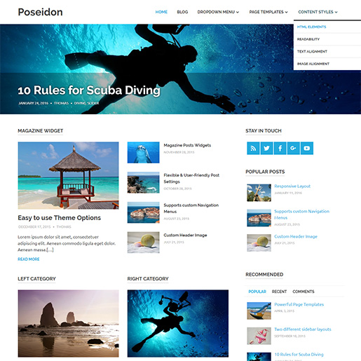 WordPress Travel theme-poseidon