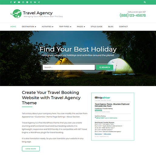 WordPress Travel theme-travel agency