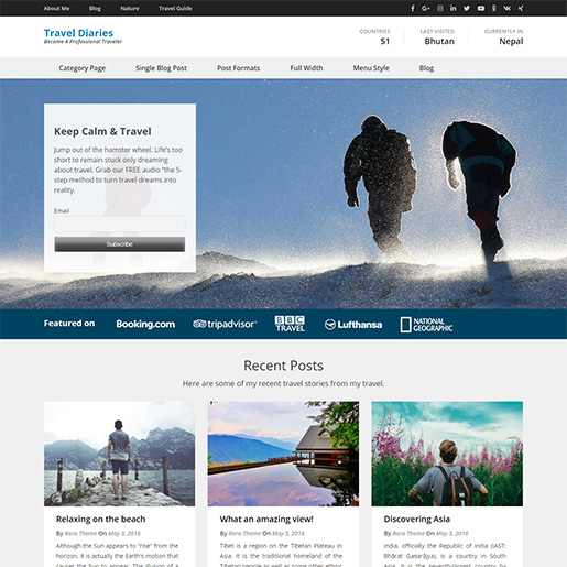 WordPress Travel theme-travel diaries