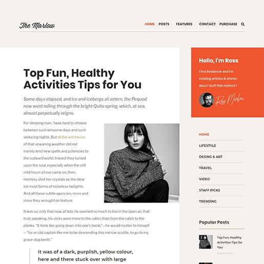 Retro WordPress Theme - Marlow