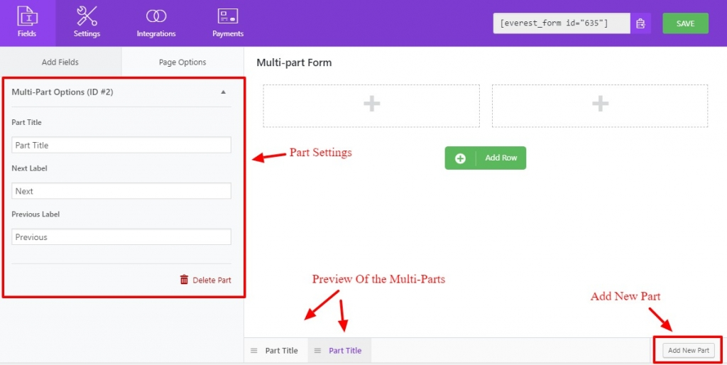 multi-part forms settings and creation
