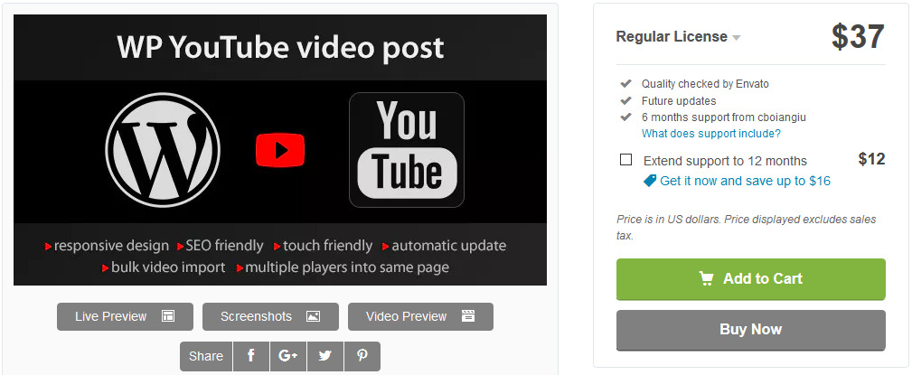 wordpress youtube plugin