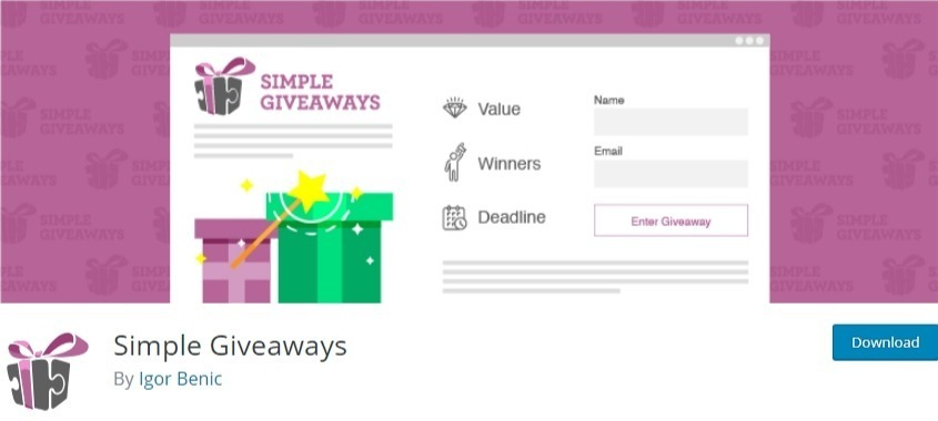 WordPress contest plugin - Simple giveaways