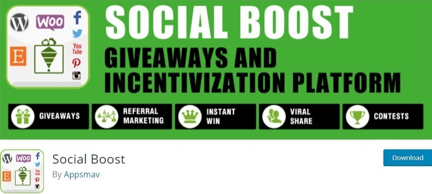 WordPress contest plugin - social boost
