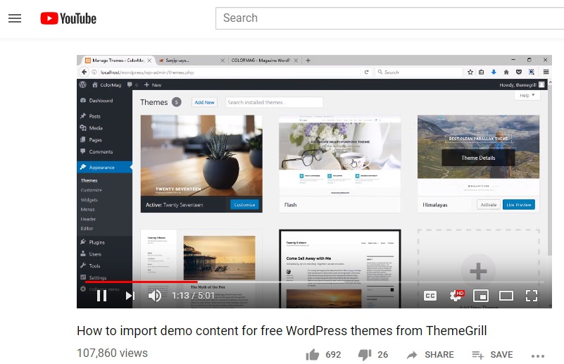 How to import demo content for free WordPress themes from ThemeGrill YouTube