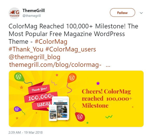 ThemeGrill on Twitter ColorMag Reached 100 000 Milestone The Most Popular Free Magazine WordPress Theme ColorMag Thank_You ColorMag_users themegrill_blog https t co akFTOCt3fI… https t co 9wVInm5