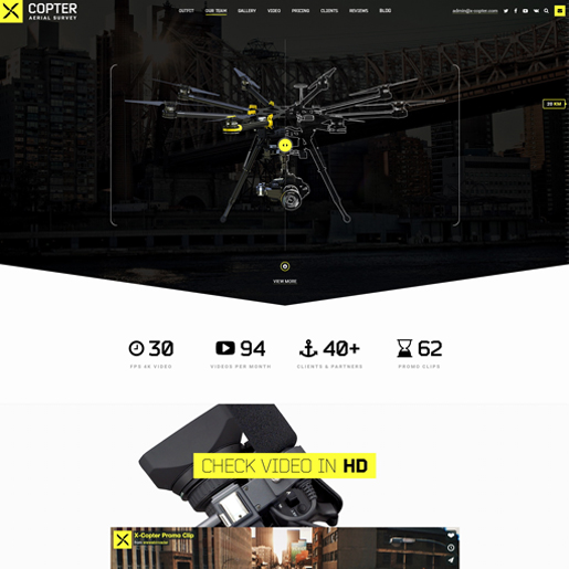 x copter wordpress drone themes