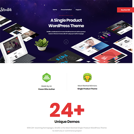 Strollik Single Product WordPress Theme