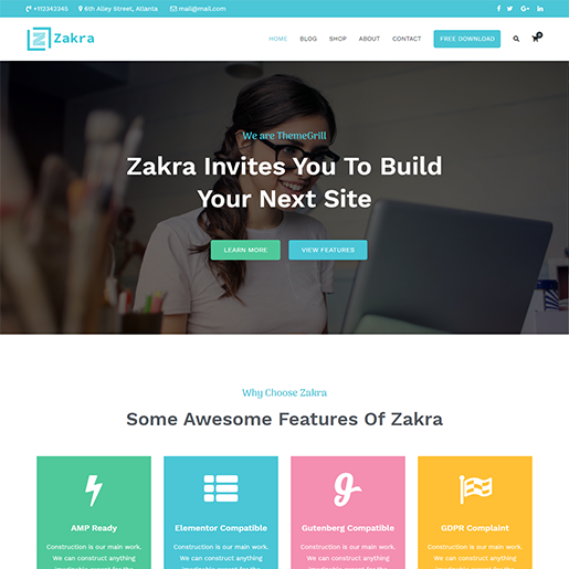 Zakra Main WordPress Theme