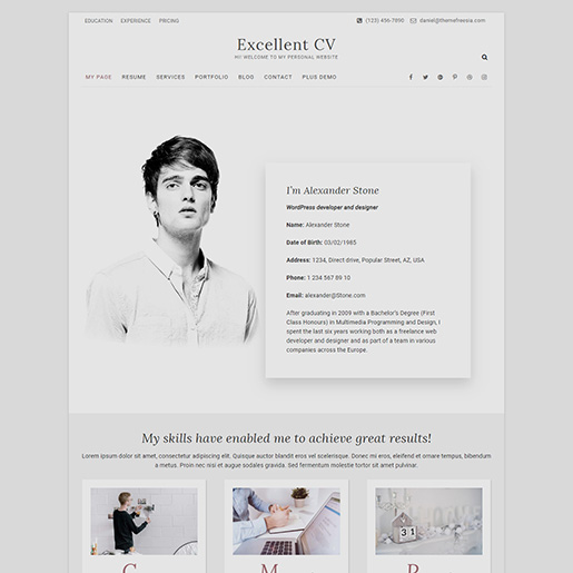 14 Free Wordpress Resume Themes For Cv And Resume Websites