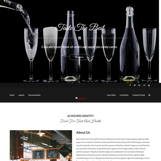 free parallax wordpress themes - foodhunt