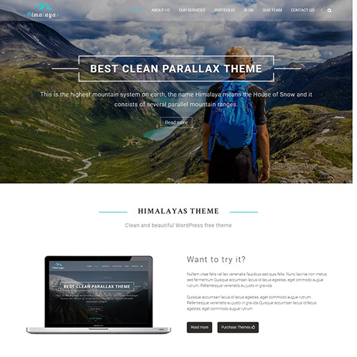 free parallax wordpress themes - himalayas