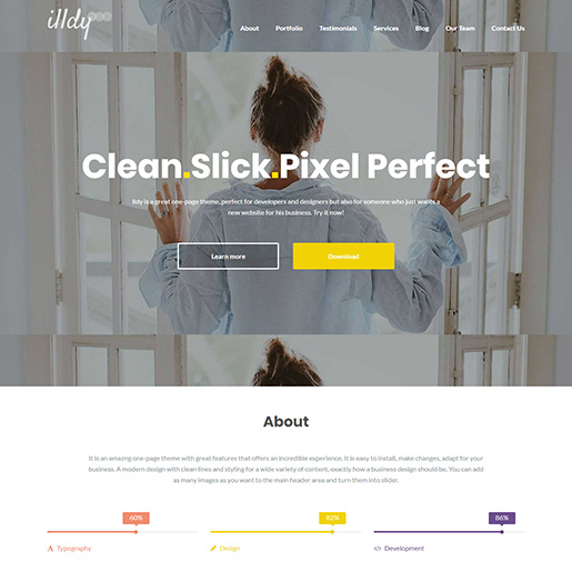 free parallax wordpress themes - illdy