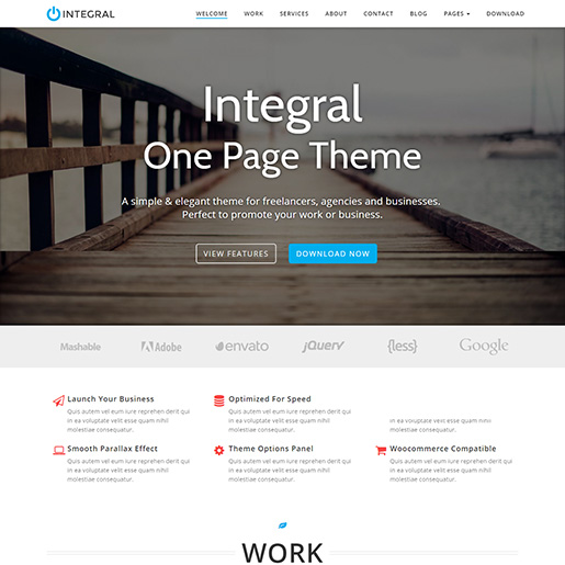 free parallax wordpress themes - integral