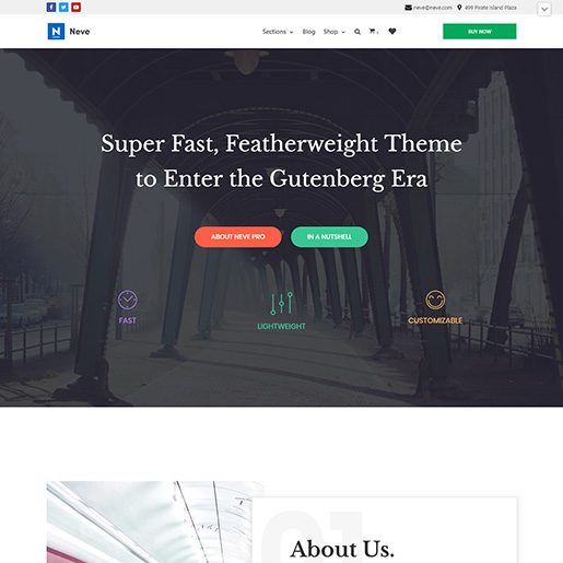 free parallax wordpress themes - neve