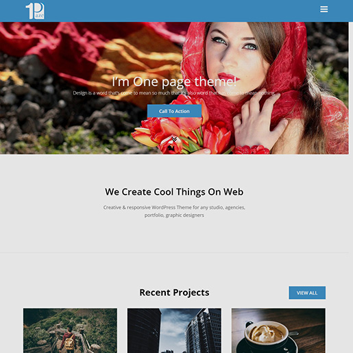 free parallax wordpress themes - one paze