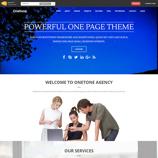 free parallax wordpress themes - onetone