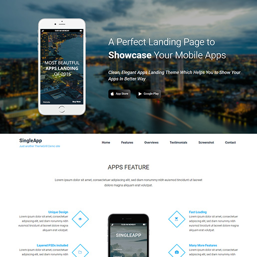 free parallax wordpress themes - singleapp
