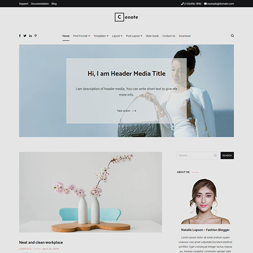 free clean WordPress themes Cenote