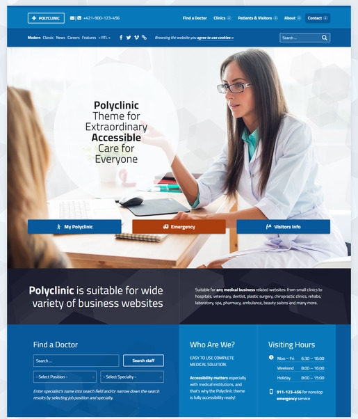 PolyClinic WordPress Theme-Best Accessibility WordPress Theme