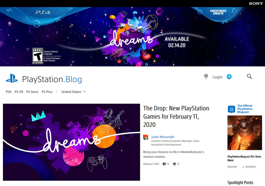 playstation blog uses wordpress