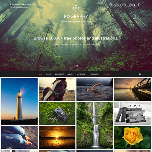 pixgraphy free wordpress photography themes