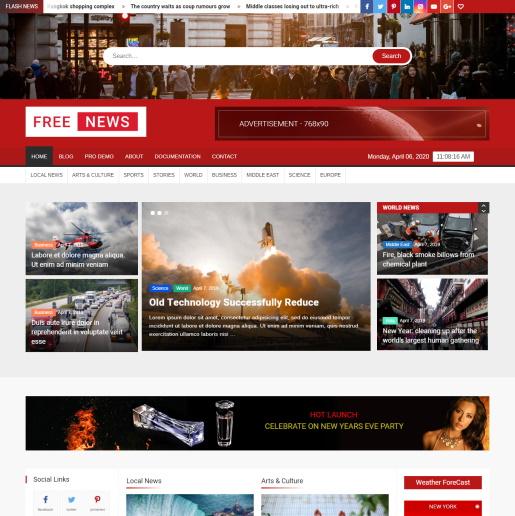 FreeNews - WordPress Slider theme