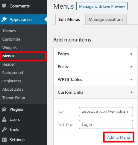 add-to-menu-wordpress-login