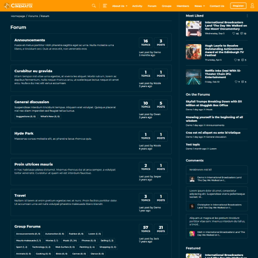 Cinematix WordPress Forum Theme