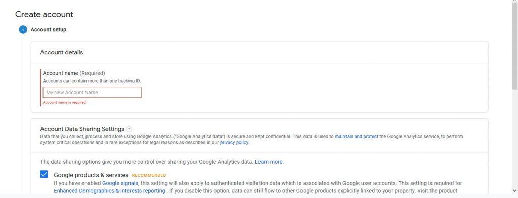 add google analytics account setup