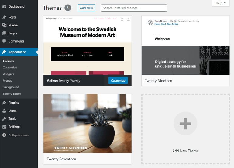 Pre-installed Default WordPress Themes