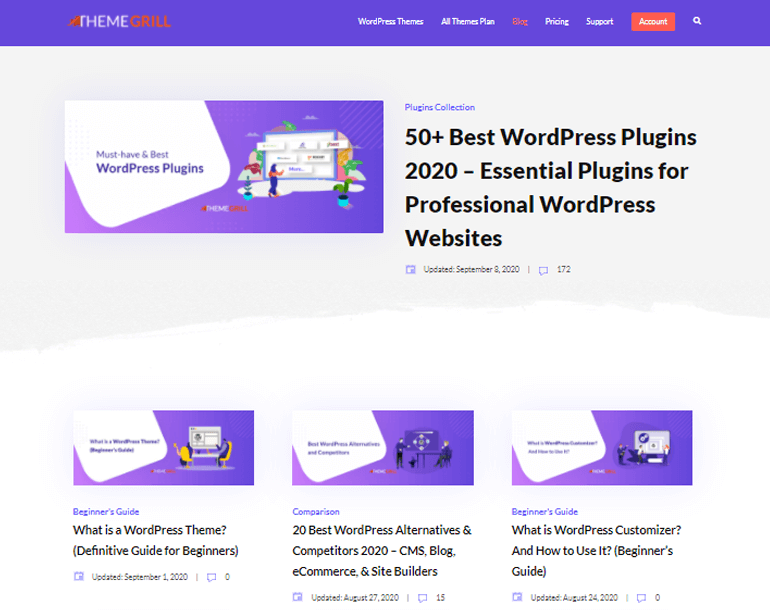 themegrill blog section WordPress Pages vs Posts