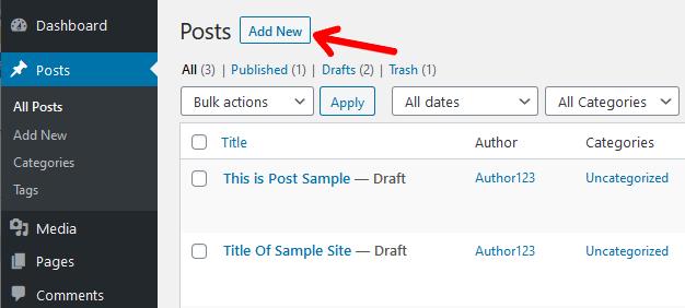 New Post in WordPress