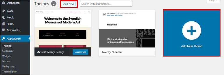 Add New button how to add a theme in wordpress