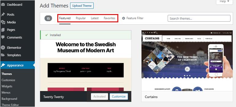 Featured, Popular, Latest, Favorite button