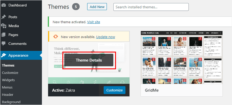 Theme Details how to add a theme in wordpress