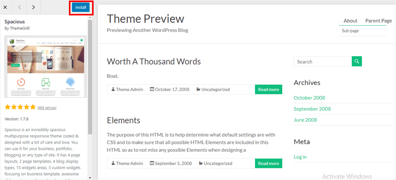 Install Theme from Preview Page