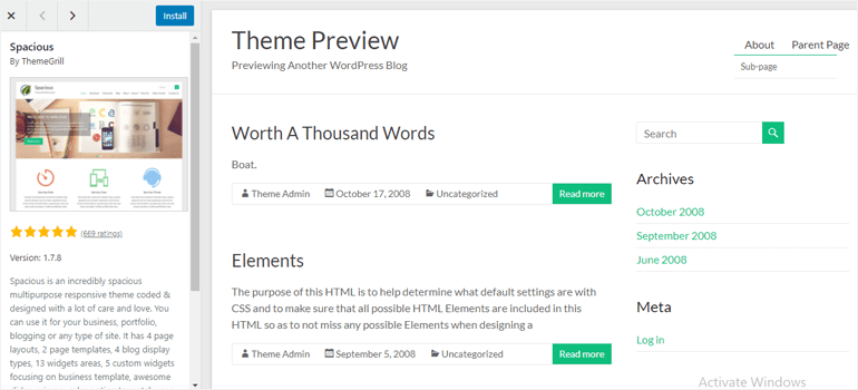 Theme Preview Page