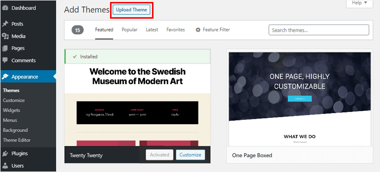 Upload theme button