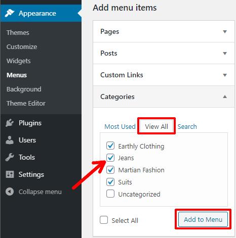 Add Categories to Menu