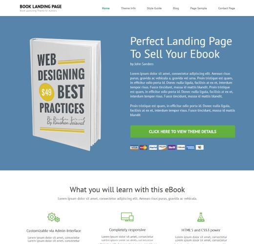 book landing page WordPress theme free download