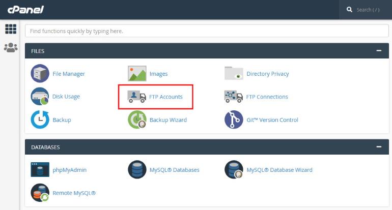cPanel FTP Accounts