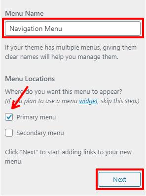 Choose Menu Name and Location