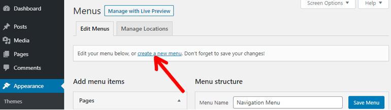 Create a New Menu Link
