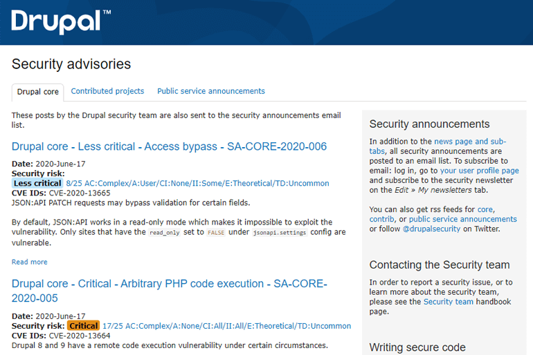 Drupal Security Advisories